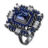 Frauen Schmuck Luxus Platz Intarsien Lazada Titan Stahl Zirkon Edelstein Diamant Ringe,Blau,Größe 52(16.6)