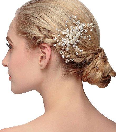 Erosebridal Hochzeit Braut Perle Hair Pins Blumen-kristallhaar Clips Haarspange Kamm Schmuck (Hochzeit Perlen Kleid Braut)