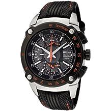 Seiko SPC039P2 - Reloj analógico de caballero de cuarzo con correa de piel negra - sumergible a 100 metros