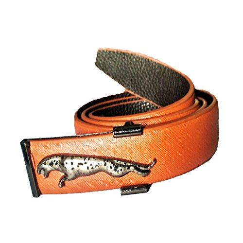 JaisBoy Stylish Branded Look Brown Jaguar Buckle Belt For Men's Designer  available at amazon for Rs.349