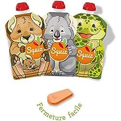 SQUIZ - Lot de 3 Gourdes Rechargeables et Réutilisables SQUIZ de la collection AUSTRALIE 130ml + Squiz'Zip // Parfait pour enfants, ados et adultes // Sans BPA - FABRICATION SUISSE