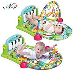 Negi Newborn Baby Multi-Function Piano Fitness Rack with Music Rattle Infant Activity Play Mat ( Multi-Color)
