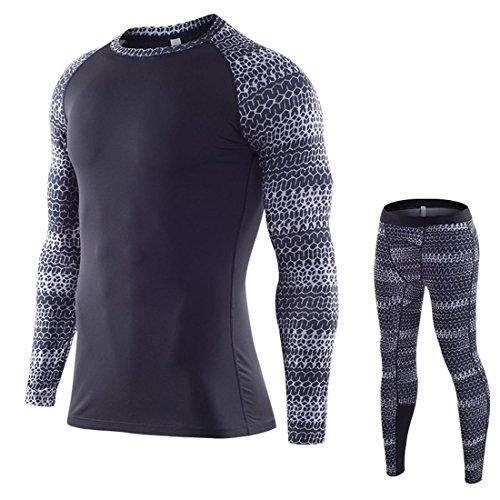 T-shirt a maniche lunghe da uomo Compression Layer T-shirt a maniche lunghe Pantaloni per il fitness Set di abbigliamento per palestra o casa B