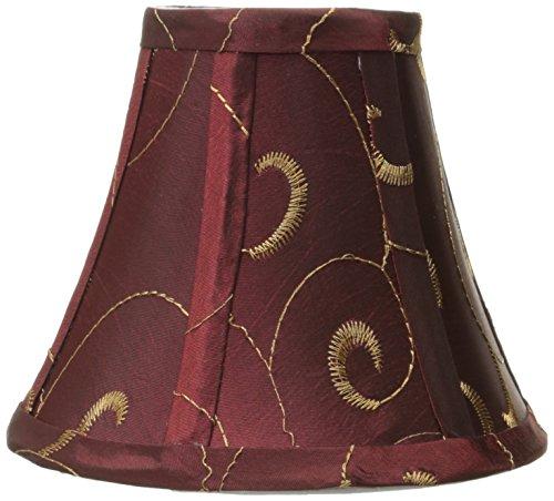 Lite Source 6in. breiter Boden Kronleuchter Lüster Kandelaber Schatten, Textil, burgunderfarben, 6-inch -