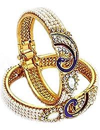 Kaizer Jewelry (Set Of 2 Kada) Dancing Peacock American Diamond Gold Plated Bangles For Women (Pearl)