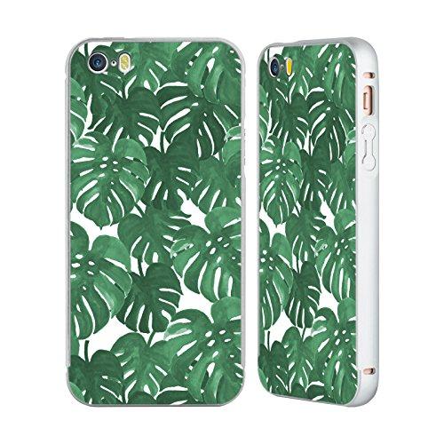 Ufficiale Charlotte Winter Isola Pattern Tropicali Argento Cover Contorno con Bumper in Alluminio per Apple iPhone 5 / 5s / SE Monstera