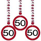 Set 3 pz Ghirlanda 50 Anni Segnale Stradale da Appendere con Spirale Metallica - Pendagli Festone Compleanno Banner Targa Cartello