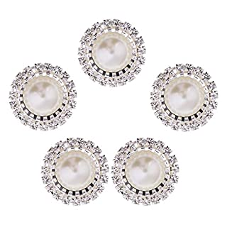 P Prettyia 5/10 Pieces Silver Gold Diamante Metal Pearl Crystal Flatback Buttons Embellishment Findings for DIY Hair Accessories Craft - 5 Pieces Silver
