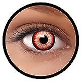 FXEYEZ Farbige Kontaktlinsen weiß schwarz rot Walking Zombie + Linsenbehälter, weich, ohne Stärke als 2er Pack - angenehm zu tragen und perfekt zu Halloween, Karneval, Fasching oder Fasnacht