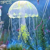 Casa perfecta 3 PCS Artículos para acuarios Decoración Fuerte fijación Simulación de Silicona Fluorescente Sucker Jellyfish