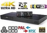 LG UBK9 Ultra-HD 4K Region-Free Blu Ray Disc DVD Player 3d  Dolby Vision PAL/NTSC -  6 Feet Multi System 4K HDMI Cable