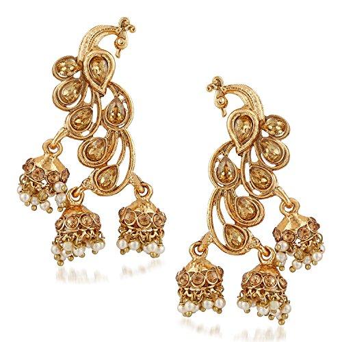 Meenaz Wedding Bridal Gold Pearl Peacock Kundan Jhumka Jhumki Earrings For Women Girls Party wear stylish Necklace Jewellery set for women Girls- jhumki earrings-224