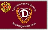 magFlags Flagge: Large SV Dynamo Flag Bezirksorganisation Erfurt | The logo of the SV Dynamo Bezirksorganisation is not considered as work of authorship because it only consists of text in a simpl