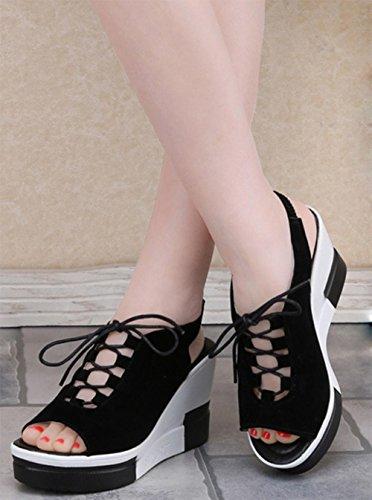 Sommer matt Fischkopf Schuhe mit hohen Absätzen Riemchen-Sandalen Steigung mit Schuhen Black