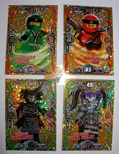 Ninjago Serie 3 Lego Set 4 x Limitierte Gold Karte LE 2 Kai, LE 1 Meister Lloyd, LE 16 Garmadon, LE 20 Oni Masken Ultra Violet