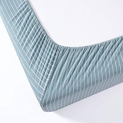 Chezmoi Collection Spannbetttuch aus Jersey, gestrickt, aus Baumwolle, sehr weich, atmungsaktiv, Tiefe Taschen bis 40,6 cm Modern Twin Nile Blue/Gray -