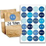 Papierdrachen Adventskalender Set - 24 braune Geschenktüten und 24 Blaue Zahlenaufkleber - zum selber basteln und zum befüllen - Mini Set 9