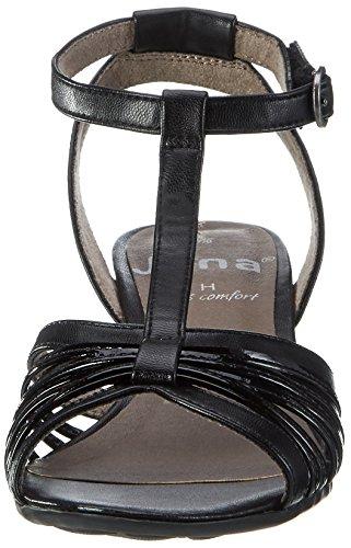 Jana 28309, Sandales Bout Ouvert Femme Noir (Black 001)