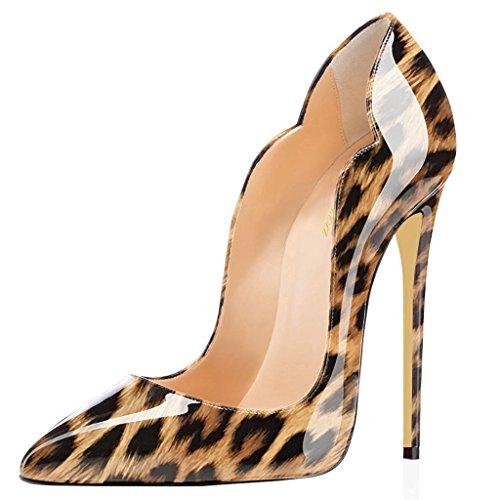 Lutalica Frauen Farbverlauf Spitz Lackleder Sexy Stiletto Heel Hochzeit Abend Pumps Schuhe Leopard Größe 39 EU Leopard High Heel Pumps Patent