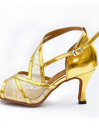 ShangYi Chaussures de danse(Noir / Rouge / Blanc / Or) -Non Personnalisables-Talon Bobine-Similicuir-Salsa White