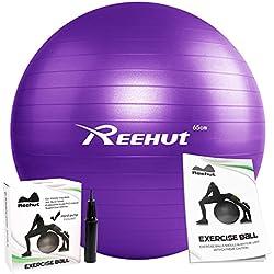 Pelota de entrenamiento con bomba para hinchar y manual para utilizarla en ejercicios de yoga, equilibrio, entrenamiento, fitness, viene en diferentes tamaños 45cm, 55cm, 65cm, 75cm, 85cm, de la marca Reehut , morado, 65cm