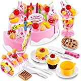 Toyshine DIY Fruit Birthday Cake Kitchen Toy with Music and Lights (Multicolour)-75Pieces