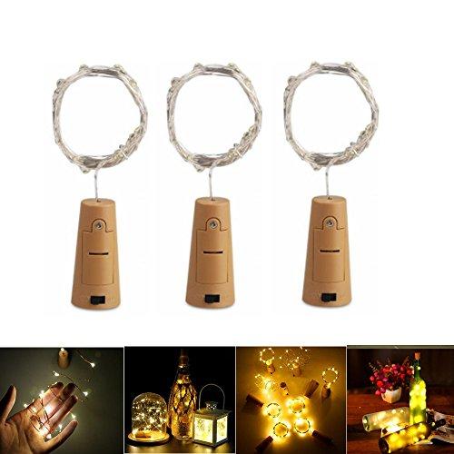 (3 Stück LED Flaschenlicht Stimmungslichter,2M 20 LEDs Warmweiß Lichterkette LED Flaschenlicht Licht, Ideal für Flasche DIY, Party, Weihnachten, Halloween, Hochzeit)