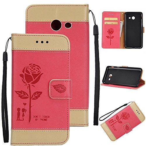 Dual Color Matching Premium PU Leder Flip Stand Case Cover mit Card Cash Slots und Lanyard für Samsung Galaxy J7 2017 ( Color : Brown ) Red