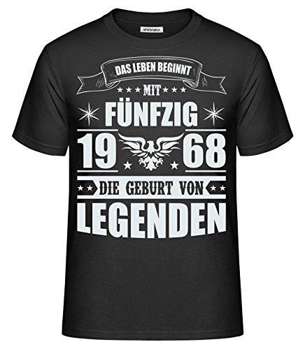 Shirtinator Lustiges T-Shirt Für Herren Männer | Das Leben Beginnt mit 50 1968 | Original Black L (Geburtstag Mann, T-shirt)