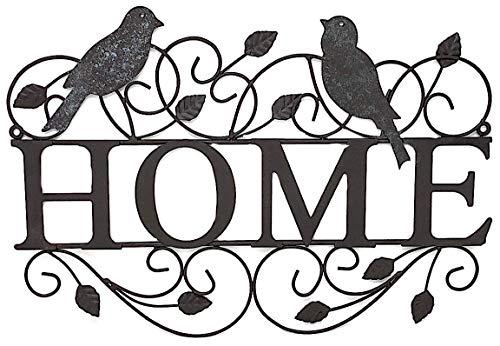 S.T.C. Hausschild aus Metall mit Vögeln für Wand, Vordertür, rustikal, für drinnen und draußen, 43,2 x 27,9 cm -