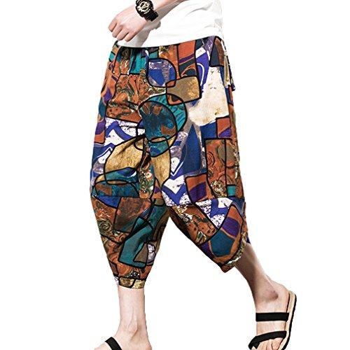 Yying Herren Laterne Hosen nepalesischen Stil Herrenhosen Größe Laterne Freizeithosen, asiatische M-5XL, 9 Uniform Chino