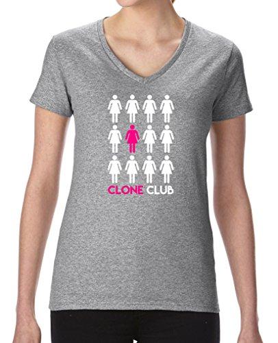 Comedy Shirts - Clone Club Girls - Damen V-Neck T-Shirt - Graumeliert/Weiss-Pink Gr. L -