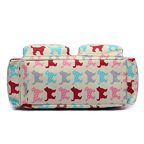 Miss Lulu, 4-teiliges Wickeltaschenset, mattes Wachstuch, geblümt und gepunktet oder andere Motive (schottischer Terrier, Schmetterlinge, Katzen, Elefanten), beige - Cat Beige - Größe: L 1501NDG Beige