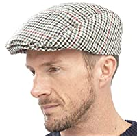 Tom Franks Mens Checked Wool Mix Tweed Flat Cap Beige Red Green M/L