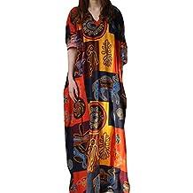 bc7ea58594749 Reaso Femme Rétro Robe Longue Col V Coton Lin Grande Taille Manche Longue  Imprime Vintage Elegant