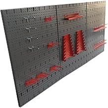 Kreher - Panel perforado para herramientas (3 secciones, metal, juego de 14 ganchos, 120 x 60 cm aprox.)