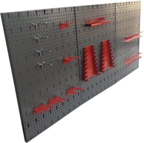Dreiteilige Werkzeuglochwand aus Metall mit 14tlg. Hakenset, ca. 120 x 60 x 1 cm Test