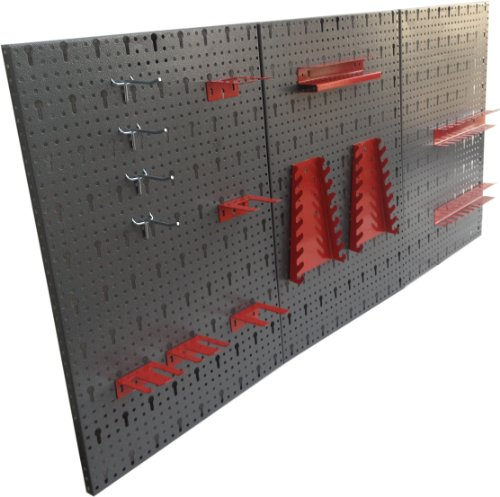 Kreher - 3 pannelli forati portautensili in metallo con 14 ganci assortiti Set di ganci, 120 x 60 cm