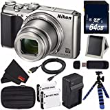 Nikon COOLPIX A900 Digital Camera (Silver) 26505 International Model + EN-EL12 Replacement Lithium Ion Battery + External Rapid Charger + 64GB SDXC Class 10 Memory Card Bundle