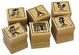 Elbi Stempelset: Französischstempet: 6 x Stempel für den Französischunterricht Lehrerstempel aus Holz - S41