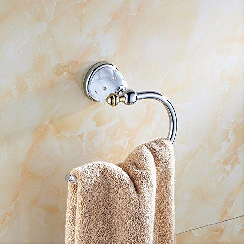 Home Live Bad-Serie Handtuchring Handtuchhalter Küchen & Badezimmer Aufbewahrung Gold blau und weiß Porzellan Pull Ring, 7,4 * 12,3 cm, Strass Verchromung - Serie Ring-pull