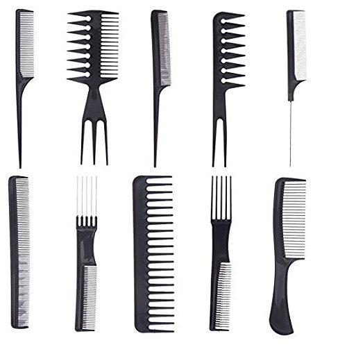 Homiki–set di 10pcs professionale parrucchiere barbiers pettini di parrucchiere pro per salone parrucchiere–nero