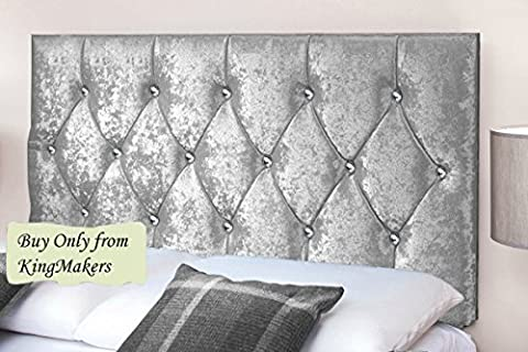 TrendMakers Handmade Boutique 5FT Kingsize Bed DIAMOND Crystal Diamante Design Crush Velvet Fabric Divan Bed Headboard Crystal Diamante Designs 24