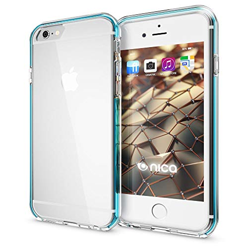 NALIA Handyhülle kompatibel mit iPhone 6 6S, Durchsichtiges Slim Silikon Case mit Transparenter Rückseite & Bumper, Crystal Schutz-Hülle Etui Dünn, Handy-Tasche Smart-Phone Back-Cover, Farbe:Türkis