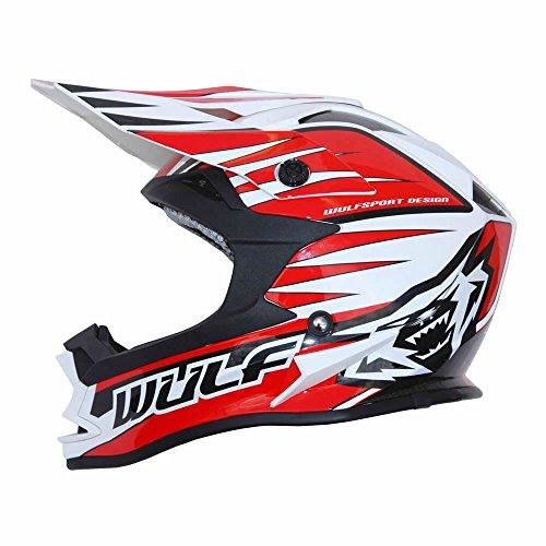 Caschi da moto: wulfsport advance enduro acu ece adulti omologata sport casco moto, casco da corsa (m, rosso)