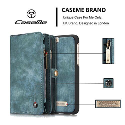 CaseMe Brand® Hülle für Samsung S7, multifunktionale Brieftasche, mit abnehmbarem Teil, echtes Leder, magnetische Knöpfe, Reißverschluss blau