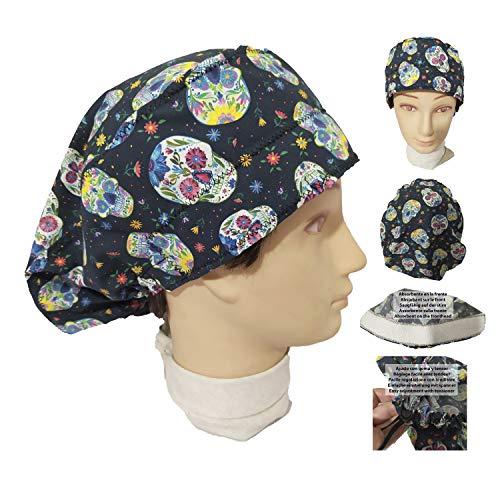 Chirurgische Kappe Frau Mexikanische Schädel. für lange Haare, Chirurgie, Zahnarzt, Tierarzt, Küche usw. Handtuch vorne, perfekte Passform und passt alle Haare. Handmade