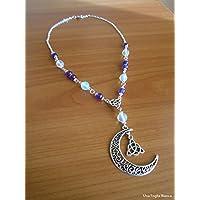 Collana con luna triquetra opalite pagan handmade