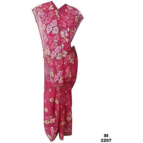 Nueva novia de la boda de desgaste étnico Rosa Georgette mezcla de seda ENVÍO GRATIS Sari Sari Parte 5 Yard