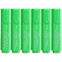Juego de 6 marcadores de colores estilo tanque, lápiz de marca permanente para estudiantes, verde